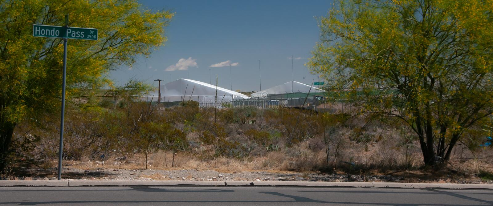 Border Patrol Station, El Paso Texas New tent temporary housing and processing center stock photos