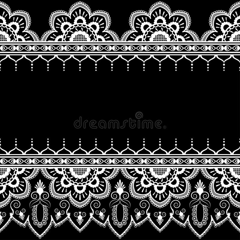 Border pattern elements with flowers and lace lines in Indian mehndi style isolated on black background. Vector illustration stock illustration