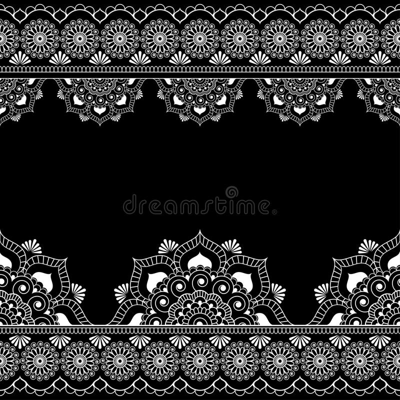 Border pattern mehndi elements with flower lace lines in Indian style for card and tattoo isolated on black background. Vector illustration stock illustration