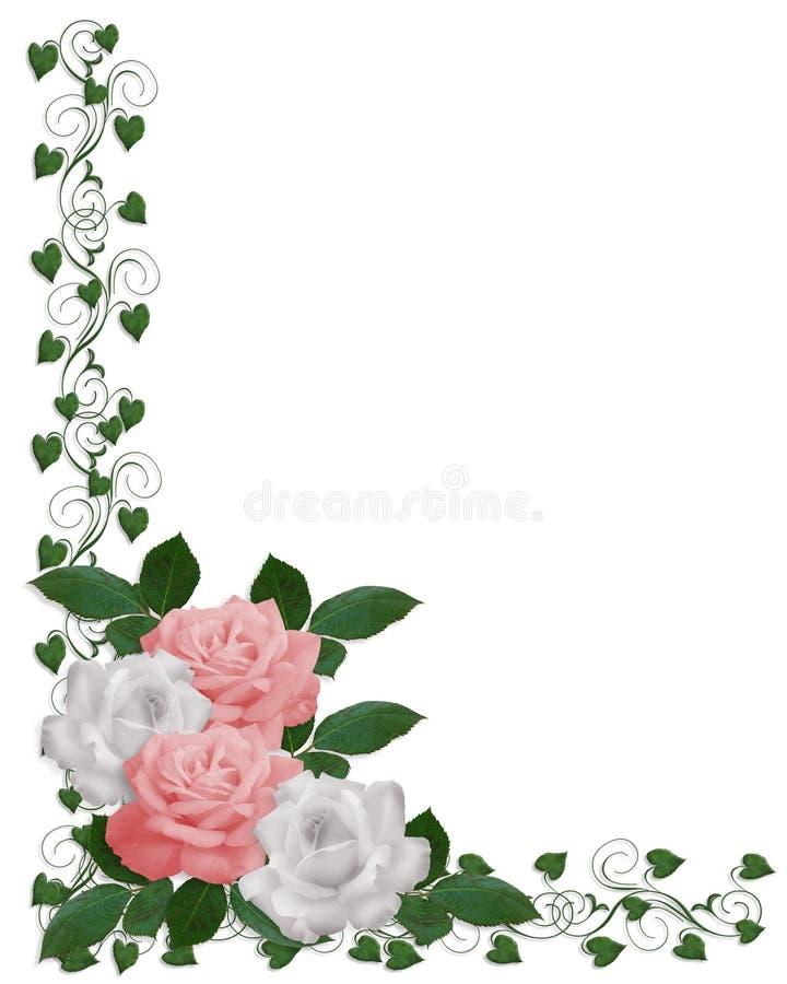 border pink roses wedding white иллюстрация штока