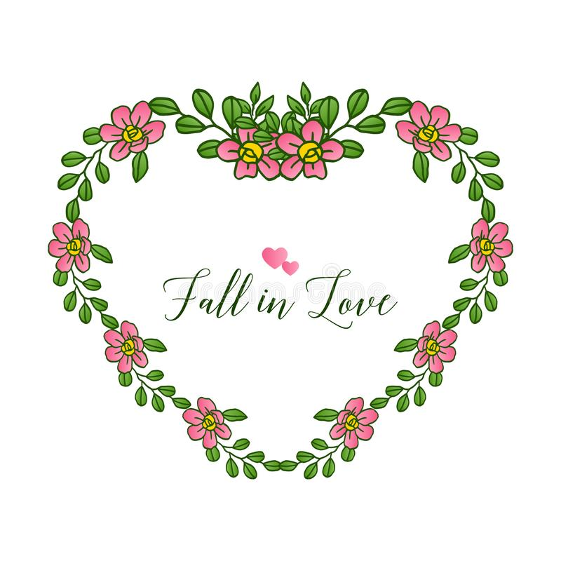 Border of pink wreath frame beautiful, for greeting card fall in love. Vector. Illustration stock illustration