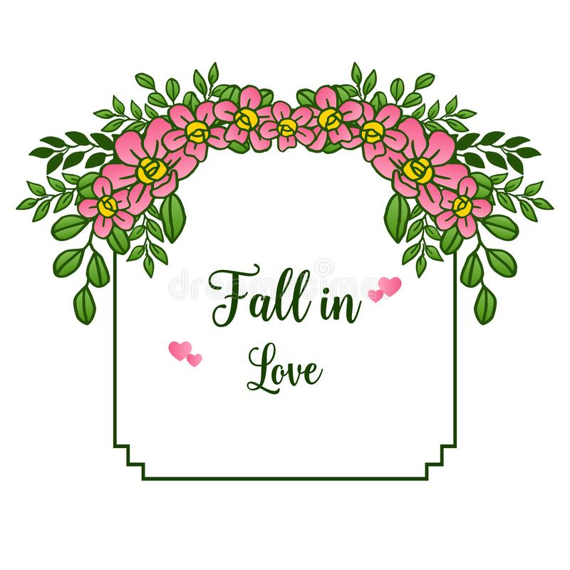 Border of pink wreath frame beautiful, for greeting card fall in love. Vector. Illustration royalty free illustration