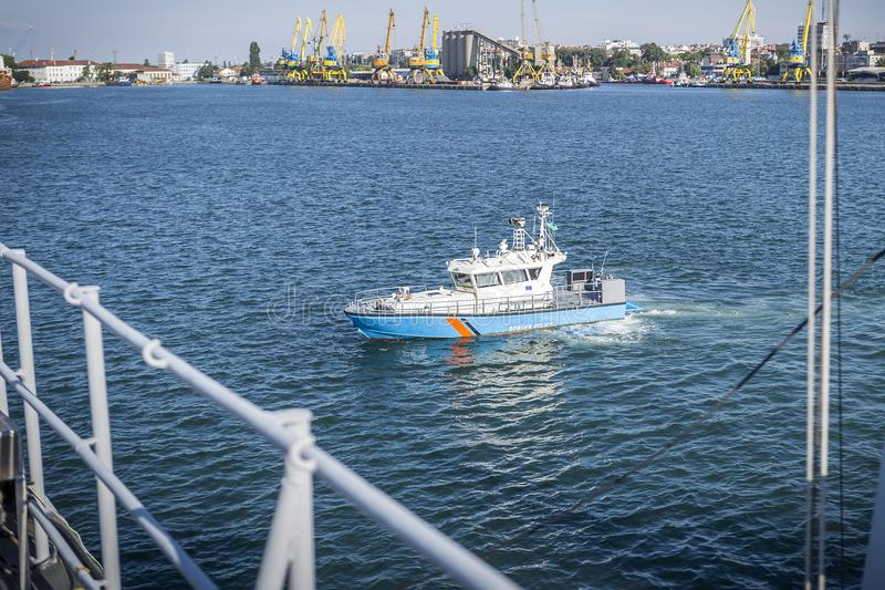 A border patrol vessel owned by a border police at a port. stock images