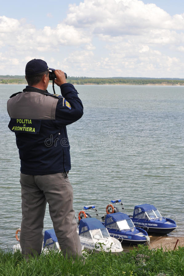 Border Policeman on duty stock images