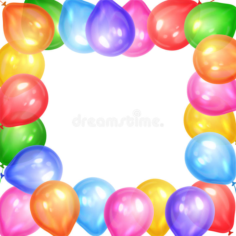 Border of realistic colorful helium balloons isolated on white royalty free illustration