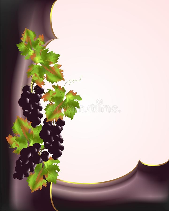 Border with red grapes, cdr vector royalty free stock photo