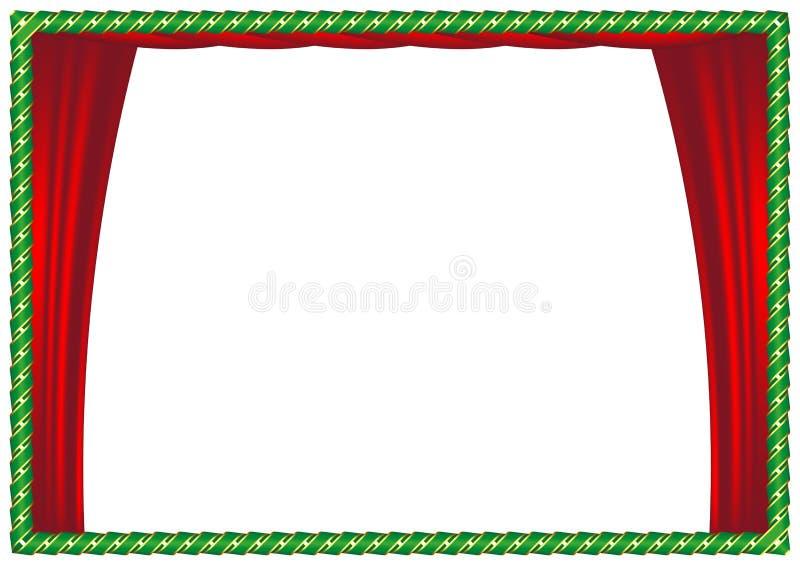 Green frame with ribbon. Luxury vintage border. Vector Illustration royalty free illustration
