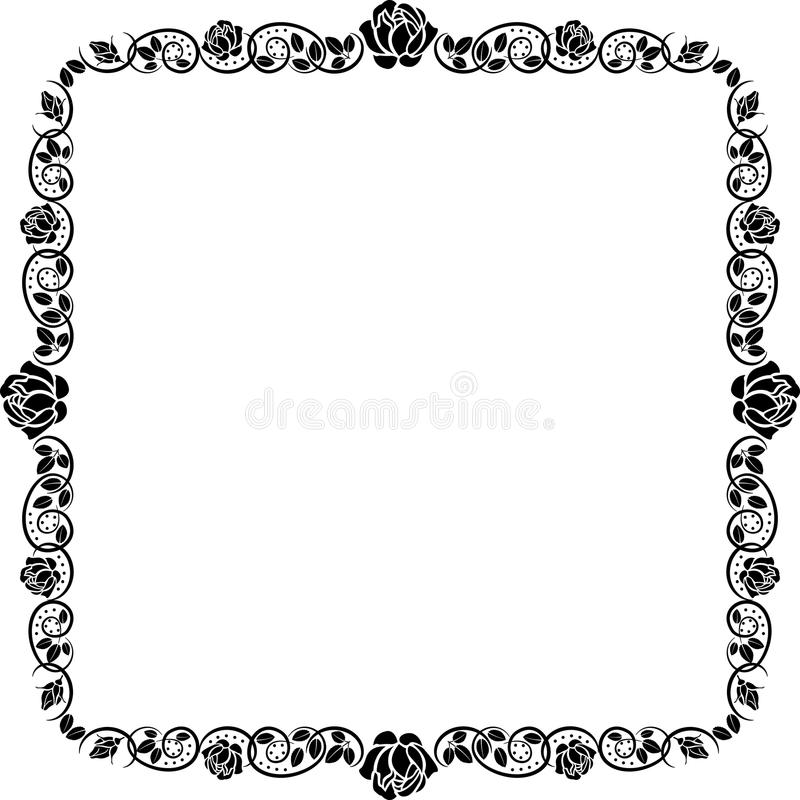 Border with rose. Silhouette border with rose decoration vector illustration