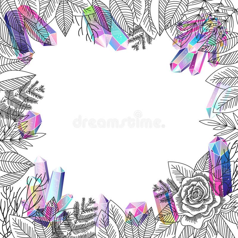 Border rose flower and crystals vector. Romantic foliage border frame with rose and crystals . Black ink floral objects, flower and gradient rainbow gems. Vector royalty free illustration