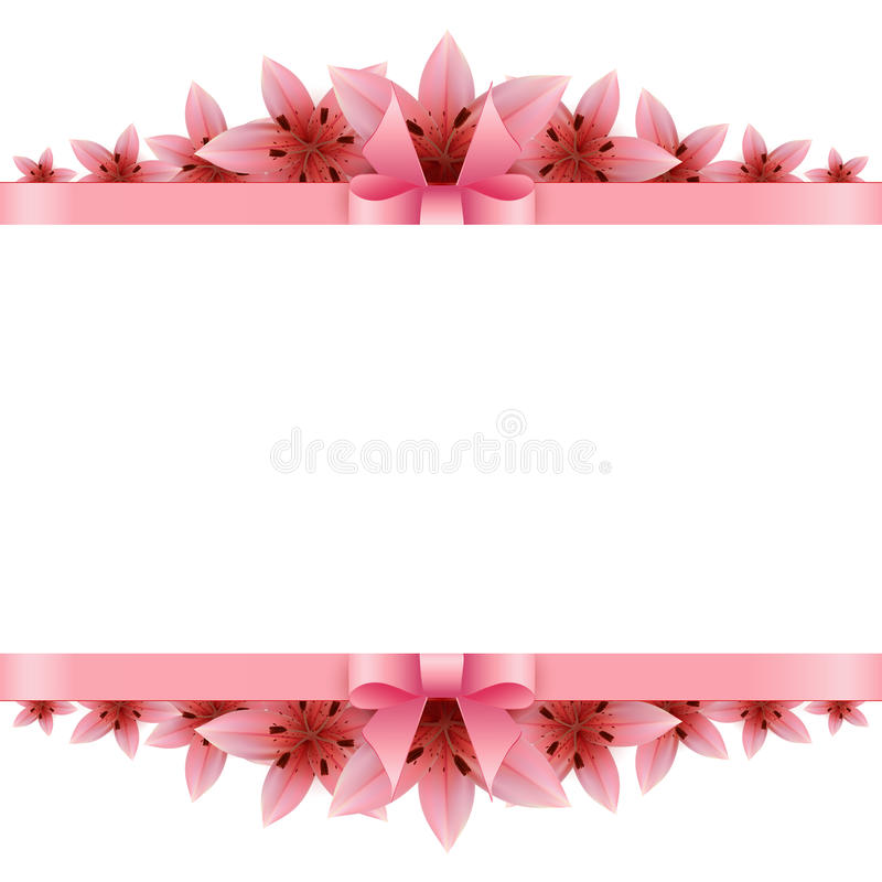 Border of rose petals with pink bow.  vector illustration