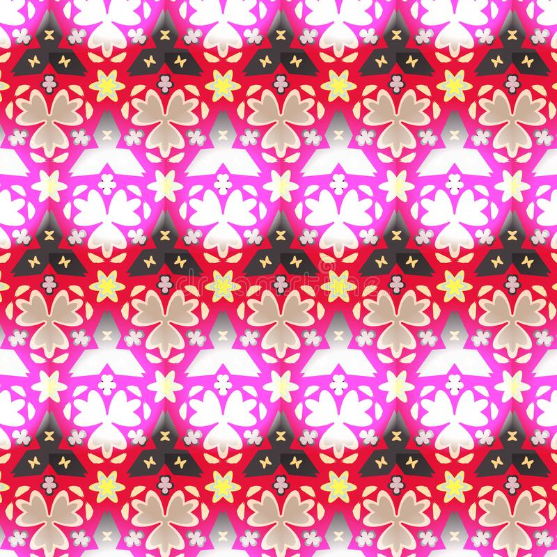 Border seamless geometric floral vector pattern in pink, red, white and black stock illustration