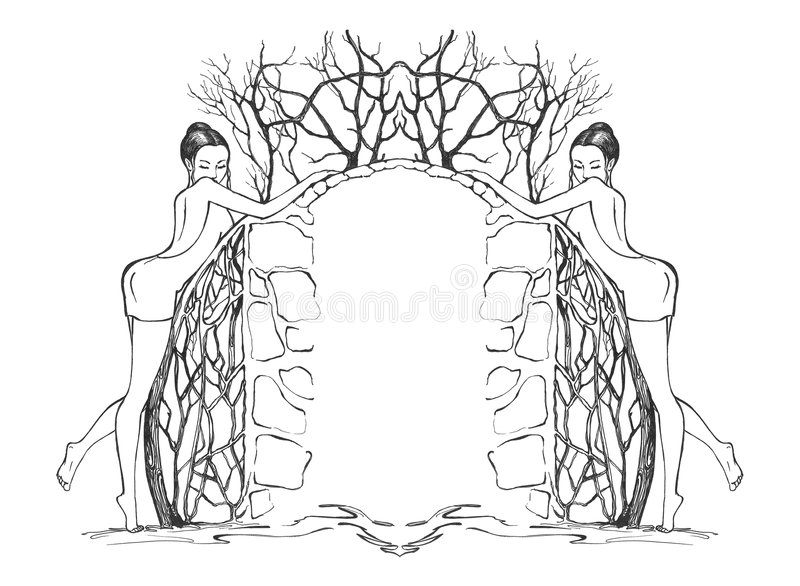 Download Border with girls stock illustration. Image of handmade - 4149504
