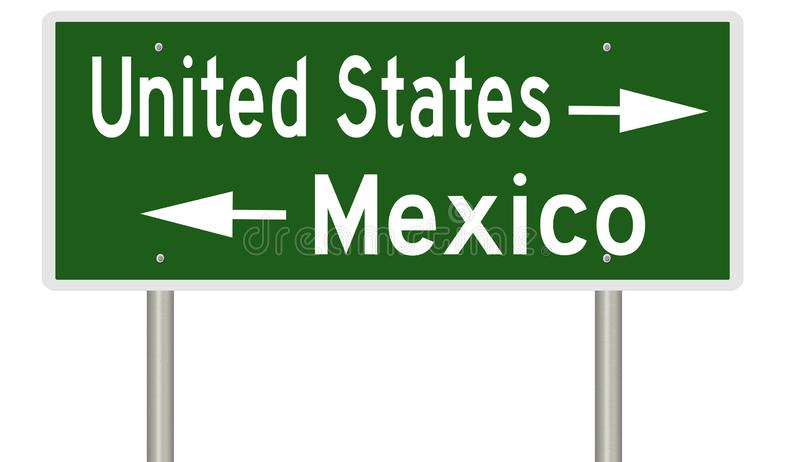 Border sign for United States and Mexico stock illustration