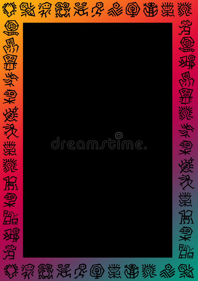 Border with signs. Gradient colored background with a border of black mystic signs around. In the center a black frame for filling with content stock illustration
