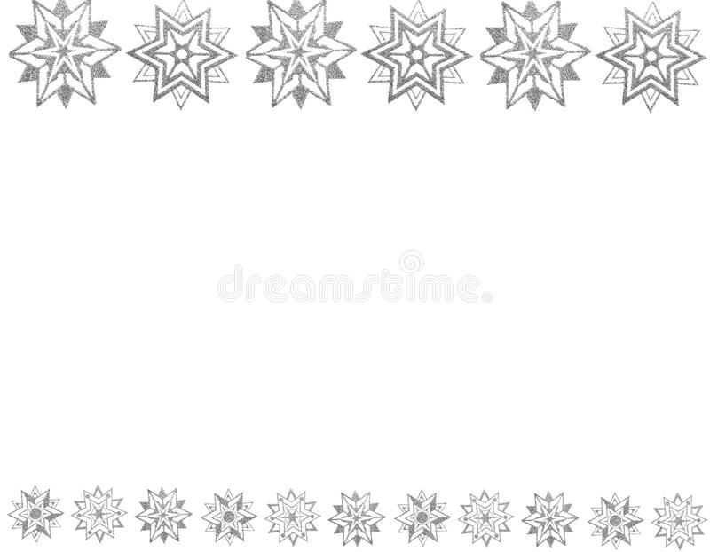 Border of silver snow stars stock images