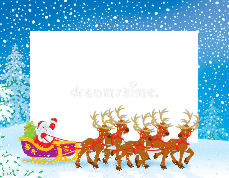 Border with Sleigh of Santa Claus vector illustration
