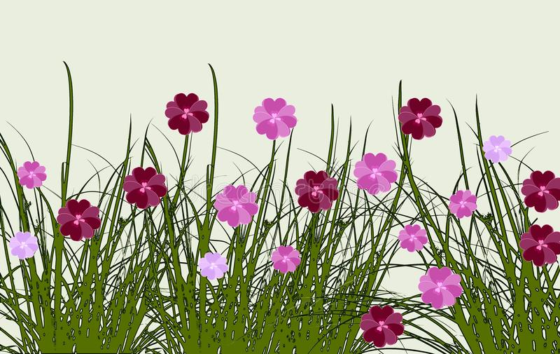 Border of summer flowers in a meadow, digital art design stock illustration