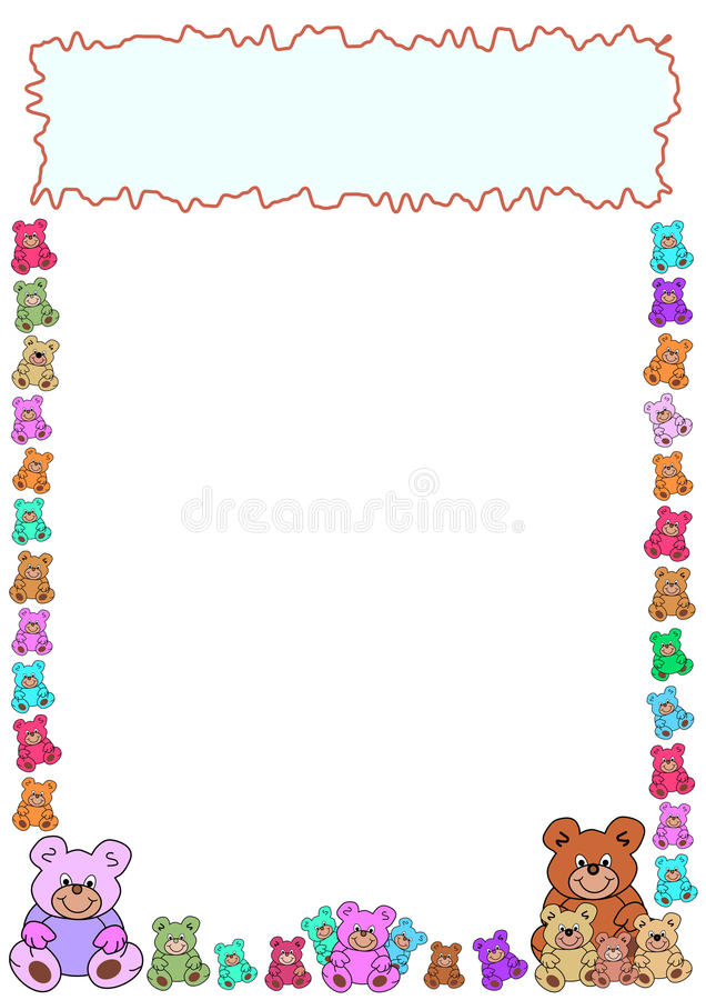 Border of teddies and frame stock images