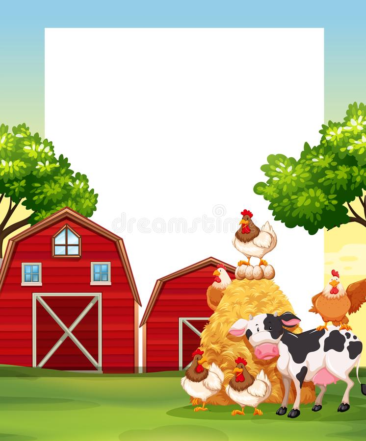 Border Template With Animals In The Farm Stock Vector - Illustration ...