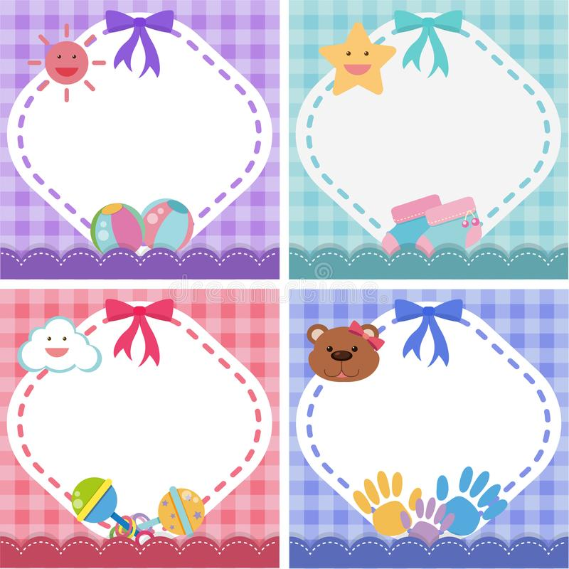 Border template with baby theme in four colors royalty free illustration