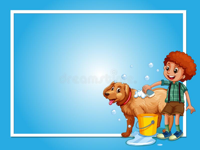 Border template with boy washing dog. Illustration stock illustration