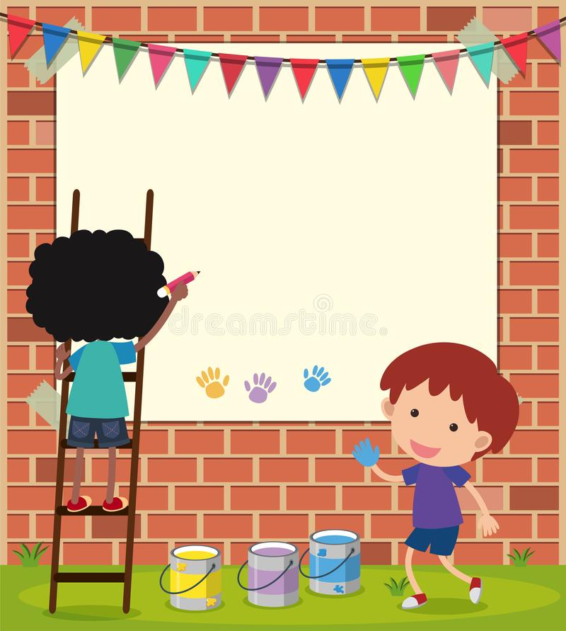 Border template with boys drawing on wall stock illustration