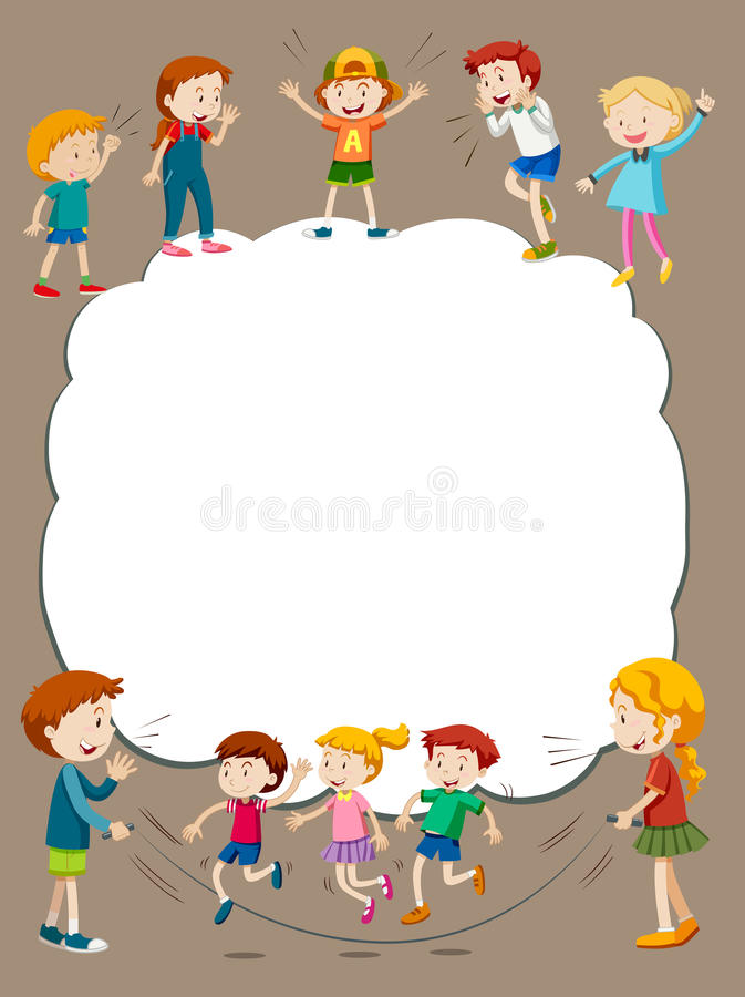 Border template with children playing royalty free illustration