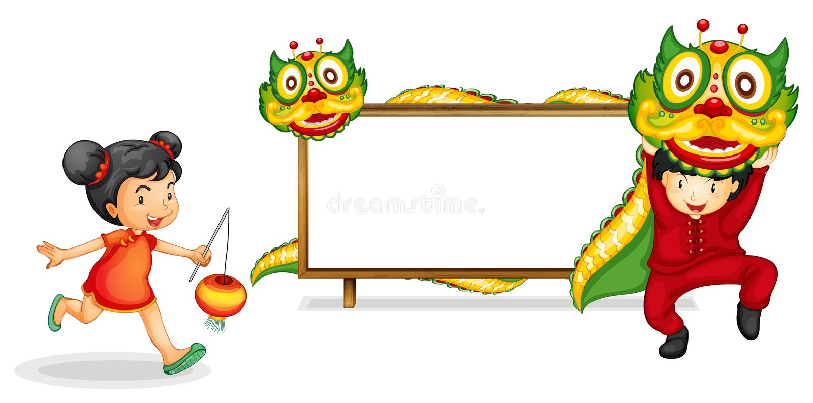 Border Template With Chinese Kid And Dragon Stock Vector ...