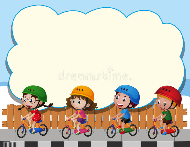 border template with four kids riding bike stock vector illustration of text blank 81885217. Black Bedroom Furniture Sets. Home Design Ideas