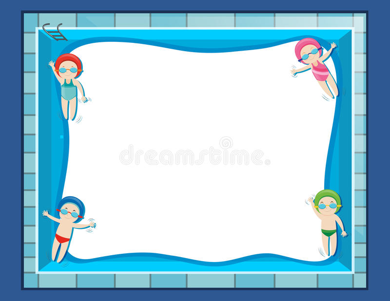 Border Template With Four Kids Swimming Stock Vector