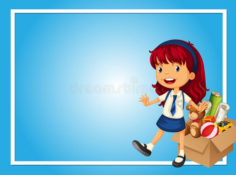 Border template with girl and box of toys royalty free illustration