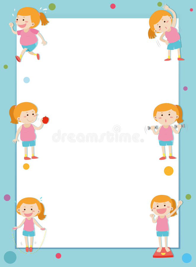 Border template with girl losing weight stock illustration