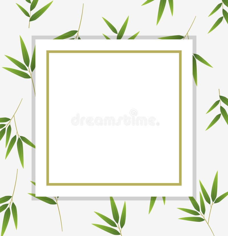 Border Template With Green Bamboo Leaves Stock Vector - Illustration ...