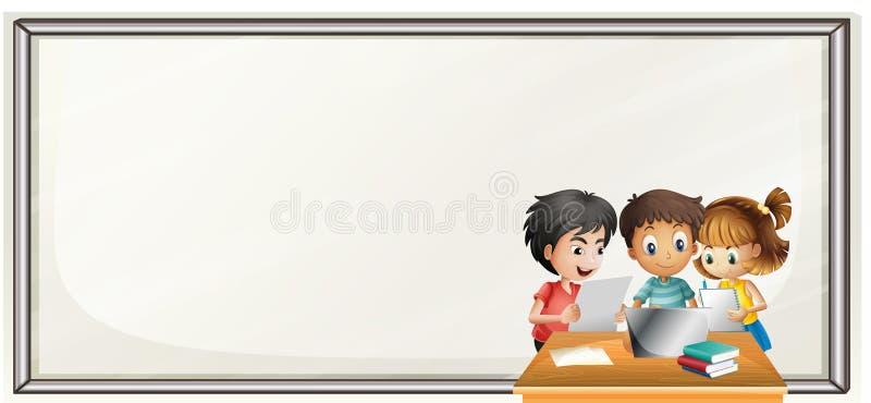 Border template with kids doing homework. Illustration vector illustration