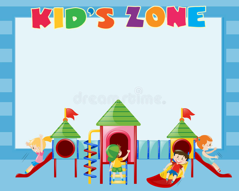 Border template with kids play on slide vector illustration