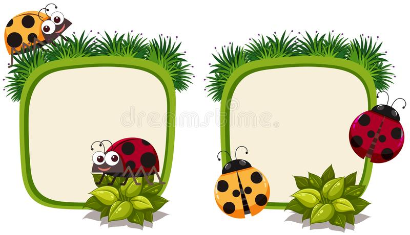 Border template with ladybirds royalty free illustration