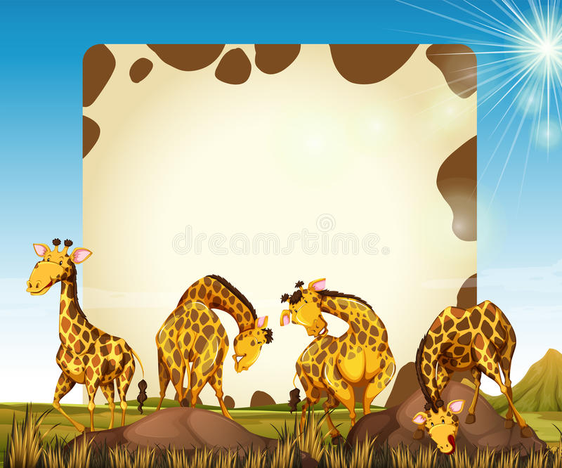 Download Border Template With Many Giraffes In The Field Stock Illustration - Illustration: 82991883