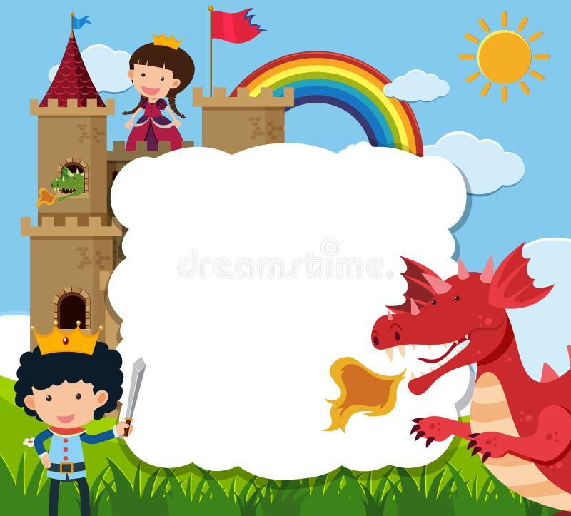 Border template with prince saving princess from dragon vector illustration