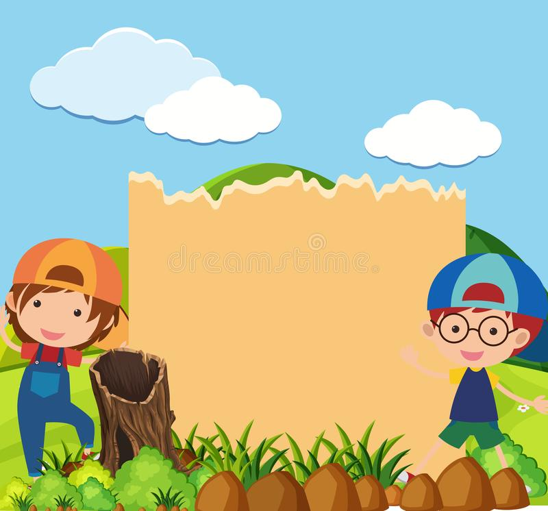 Border template with two boys in park. Illustration vector illustration
