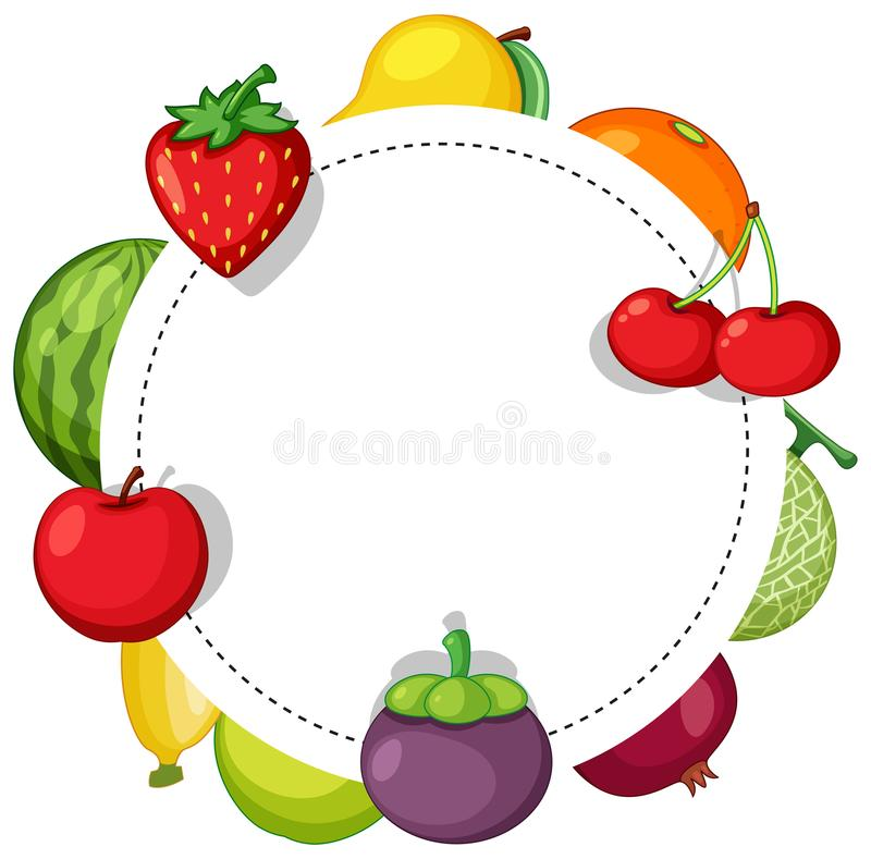 Border template wtih many types of fruits stock illustration