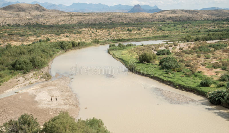 Border between Texas and Mexico. The Rio Grande River marks the border between Mexico right and Texas left in Big Bend National Park stock photography