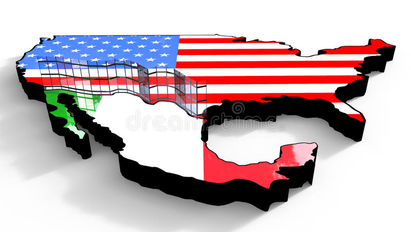 Border Wall Beween America and Mexico 3d Illustration vector illustration