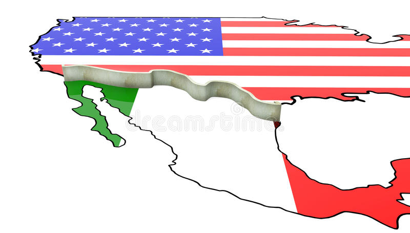 Border Wall Beween America and Mexico 3d Illustration stock illustration