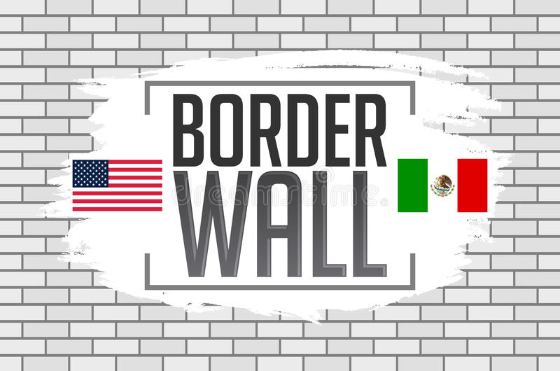 Border wall concept vector illustration with the United States and Mexico flags stock illustration
