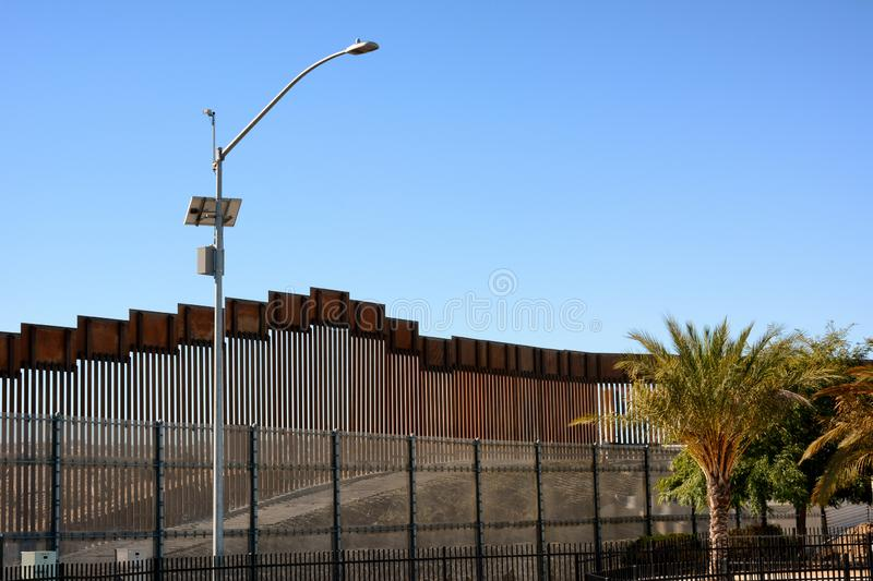 Border Wall in the San Ysidro district of San Diego California. The wall separates the USA and Mexico royalty free stock images