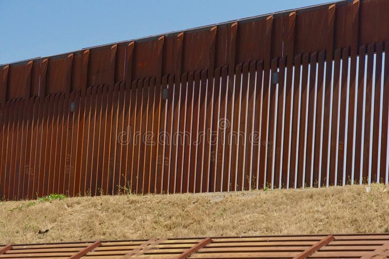 Border Wall at Tijuana. Close up of border fence between Tijuana, Mexico and San Diego, California stock images