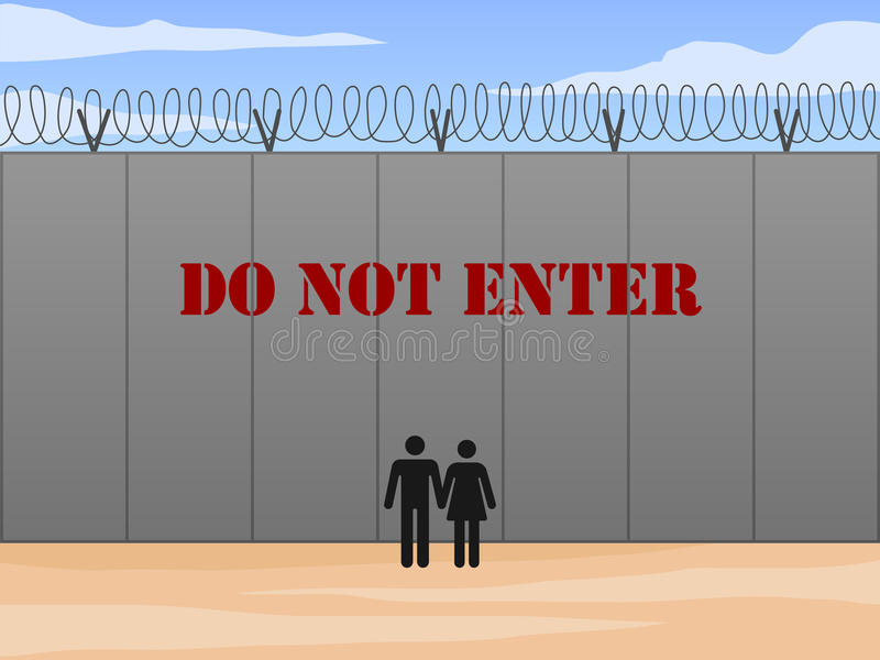 Border wall between United States and Mexico with do not enter sign in English vector illustration vector illustration