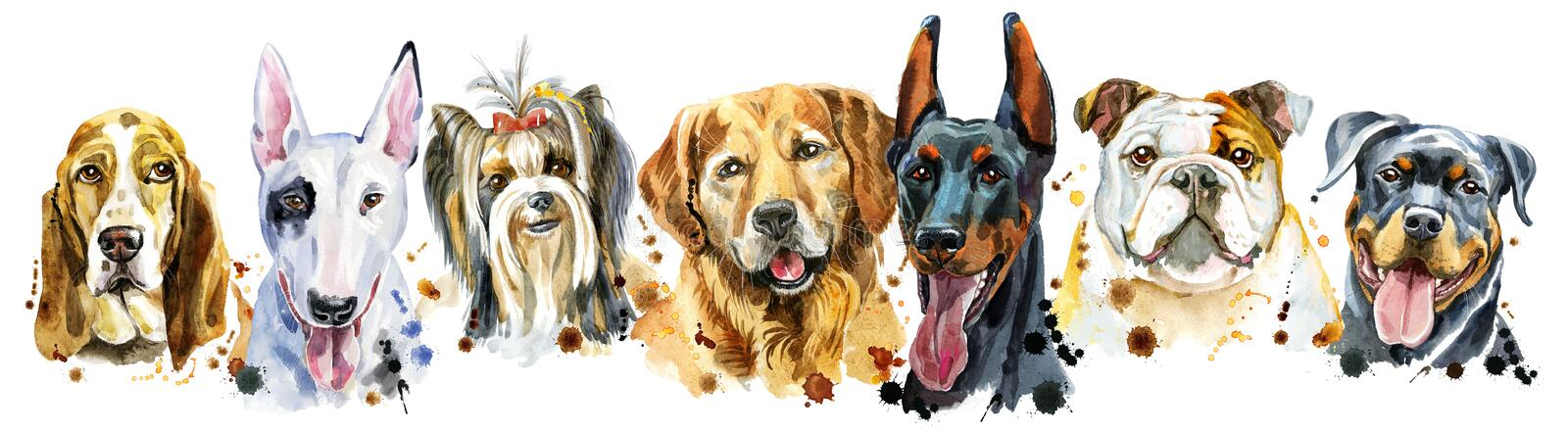Border from watercolor portraits of dogs for decoration stock image