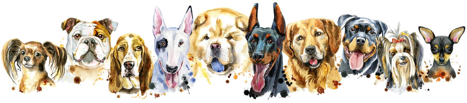 Border from watercolor portraits of dogs for decoration royalty free stock image