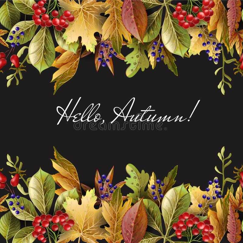 Free Border With Autumn Yellow Leaves And Berries. Vector Illustration. Stock Photography - 123026182